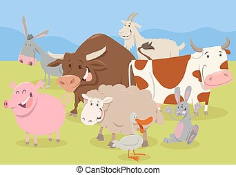 cute farm animal characters - Cartoon Illustration of Funny...