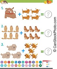 addition maths activity - Cartoon Illustration of...