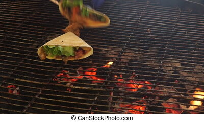 Barbecue food grill - Barbecue on charcoal grill. Meat on...