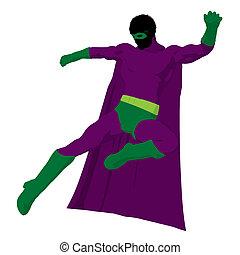 African American Super Hero Illustration Silhouette -...