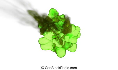 Close-up toxic green Ink or smoke with alpha mask underwater move in slow motion. VFX Cloud of Ink for transitions, background, overlay and effects. For alpha channel use alpha matte. Ver 15
