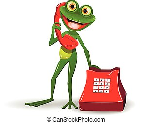 Frog with Red Phone - Illustration a Green Frog with Red...