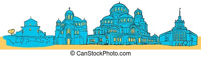 Sofia Bulgaria Colored Panorama, Filled with Blue Shape and...