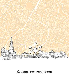 Brussels Belgium Skyline Map, One Color Scalable Vector Art...