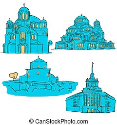 Sofia Bulgaria Colored Landmarks
