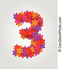 Floral numbers. Colorful flowers. Number 3