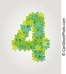 Floral numbers. Green flowers. Vector illustration. Number 4