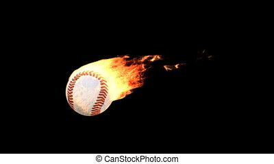 fire baseball - Burning ball isolated on black (with matte)