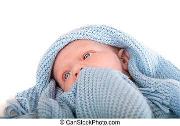 Cute Baby boy's portrait in blue blanket - Cute Baby boy's...