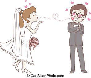Bride doing flying Kiss to the Groom - Vector Illustration...