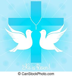 A pair of white pigeons soars in the sky against the background of a cross. He is risen. Easter greeting card.
