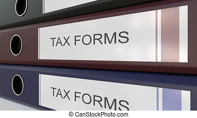 Office binders with Tax forms tags - Line of multicolor...