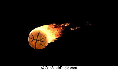 fire basket ball - Burning ball isolated on black with matte...