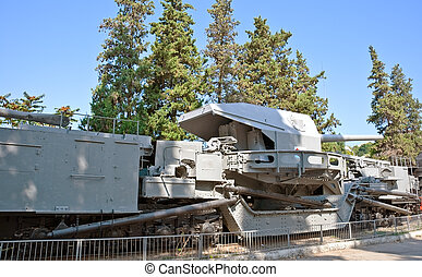 Naval cannon of WW2 on railway Ukraine, Crimea, Sevastopol...