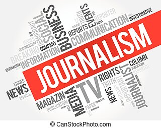 Journalism word cloud collage , social concept background