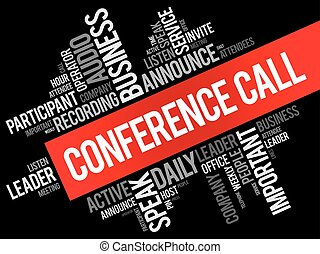 Conference Call word cloud collage, business concept...
