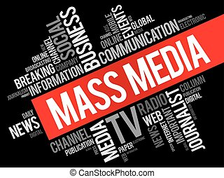 Mass media word cloud collage, technology business concept...