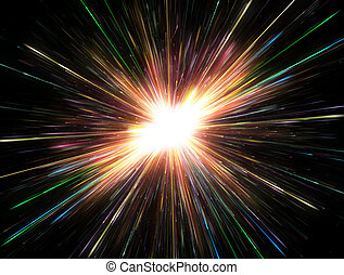 Glowing lights, particle explosion