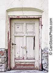 Old fashioned door in building. Details