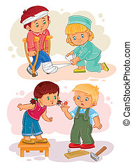 Set icons little boy sick and compassionate girl - Set of...