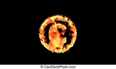 fire copyright - Burning symbol isolated on black with matte...