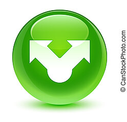 Share icon glassy green round button