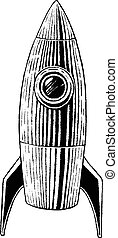 Vectorized Ink Sketch of a Rocket - Vector Illustration of a...