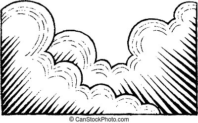 Vectorized Ink Sketch of Clouds - Vector Illustration of a...
