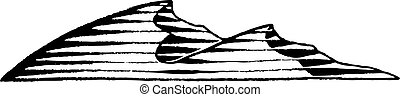 Vectorized Ink Sketch of Sand Dunes - Vector Illustration of...