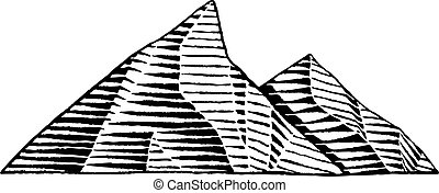 Vectorized Ink Sketch of Mountains - Vector Illustration of...