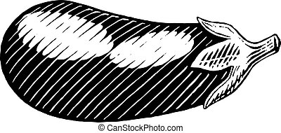 Vectorized Ink Sketch of an Eggplant - Vector Illustration...
