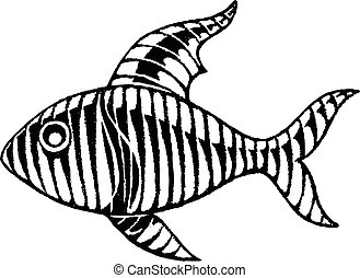 Vectorized Ink Sketch of a Striped Fish - Vector...