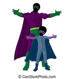 African American Super Hero Dad Illustration Silhouette -...