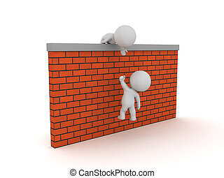 3D Character helping another one get over a wall