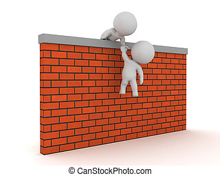 3D Character helping succesfully another one get over a wall