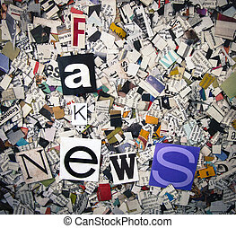 fake news concept with newspaper confetti
