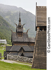 Traditional norwegian stave church. Borgund. Travel Norway....