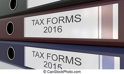Office binders with Tax forms tags different years - Line of...