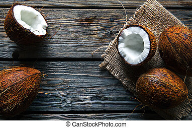 Coconuts on a wooden background, food, nature
