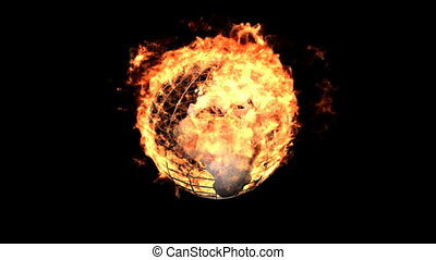 fire earth - Burning symbol isolated on black (with matte)