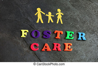 Foster Care Family - Paper family of three with Foster Care...