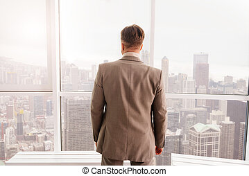Rear view of businessman standing near window - Involved in...