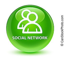 Social network (group icon) glassy green round button
