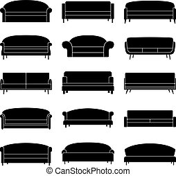 Set of black sofa icons, vector illustration