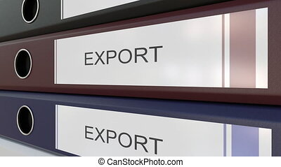 Office binders with Import and Export tags - Line of...