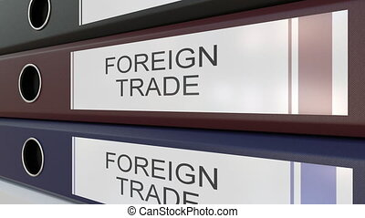 Office binders with Foreign trade tags - Line of multicolor...