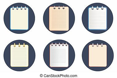 Icon of notebook in six variations on the dark background....