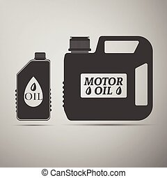 Blank plastic canister for motor oil icon. Vector...
