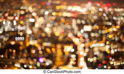 Timelapse of city lights out of focus