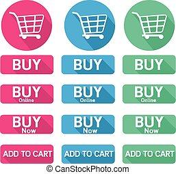 Flat design button buy online shopping cart
